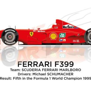 Ferrari F399 n.3 fifth in the Formula 1 World Champion 1999
