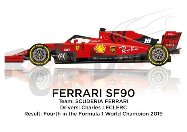 Image Ferrari SF90 n.16 fourth in the Formula 1 World Champion 2019