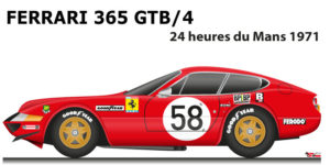 Ferrari 365 GTB/4 n.58 fifth in the 24 Hours of Le Mans 1971
