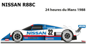 Nissan R88C n.32 fourteenth in the 24 Hours of Le Mans 1988