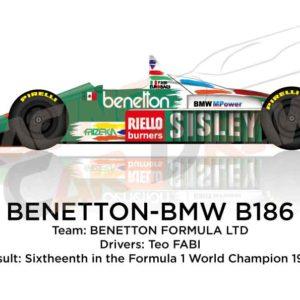 Benetton - BMW B186 n.19 sixtheenth in the Formula 1 World Champion 1986