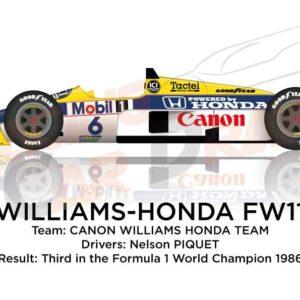 Williams - Honda FW11 n.6 third in the Formula 1 World Champion 1986