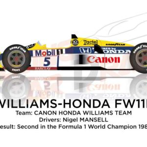 Williams - Honda FW11B n.5 second in the Formula 1 Champion 1987