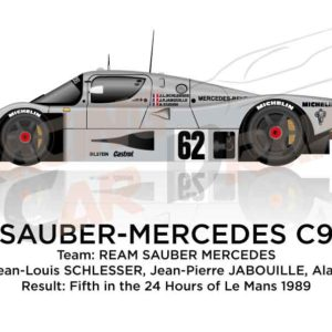 Sauber - Mercedes-Benz C9 n.62 fifth in the 24 Hours of Le Mans 1989