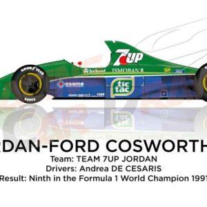 Jordan - Ford Cosworth 191 n.33 ninth in the Formula 1 World Champion 1991