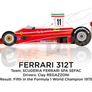 Ferrari 312T n.11 fifth in the Formula 1 World Champion 1975