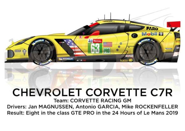 Chevrolet Corvette C7.R n.63 eighth in the class GTE PRO 24 hours of Le Mans 2019