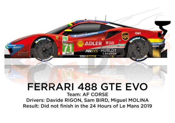Ferrari 488 GTE EVO n.71 did not finish 24 Hours of Le Mans 2019