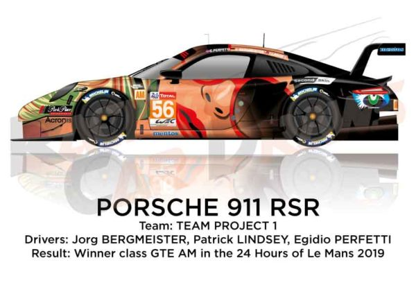Porsche 911 RSR n.56 winner class GTE AM 24 Hours of Le Mans 2019