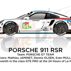 Mathieu Jaminet, Dennis Olsen and Sven Muller at the wheel of the Porsche 911 RSR n.94 they arrived seventh in the class GTE PRO at the 24 hours of Le Mans 2019
