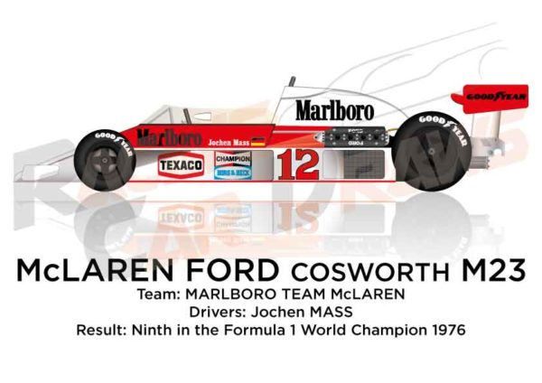 McLaren - Ford Cosworth M23 n.12 ninth in the F1 World Champion 1976