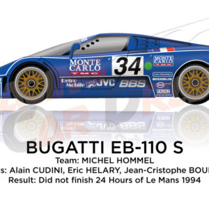 Bugatti EB-110 S n.34 did not finish 24 Hours of Le Mans 1994