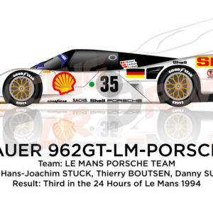 Porsche Dauer 962 GT LM n.36 third in the 24 Hours of Le Mans 1994