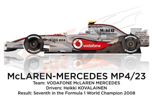 McLaren – Mercedes Benz MP4/23 n.23 seventh in the Formula 1 World Champion 2008