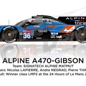 Alpine A470 - Gibson n.36 sixth in the 24 hours of Le Mans 2019