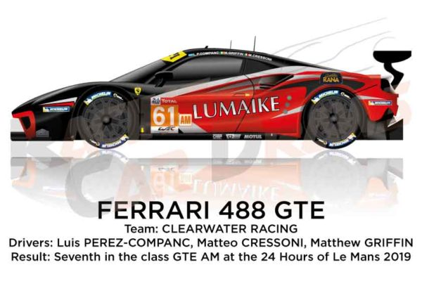 Ferrari 488 GTE n.61 thirty-seventh in the 24 Hours of Le Mans 2019