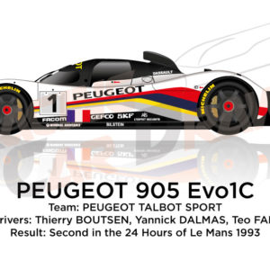 Peugeot 905 Evo1C n.1 second in the 24 Hours of Le Mans 1993