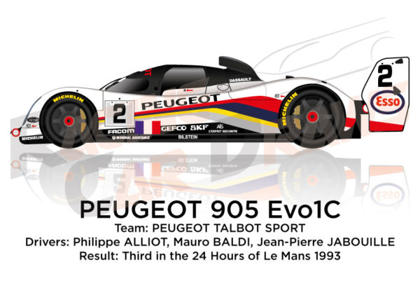 Peugeot 905 Evo1C n.2 third in the 24 Hours of Le Mans 1993