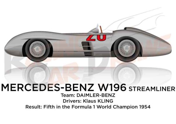 Mercedes-Benz W196 Streamliner fifth in the 1954 with Kling