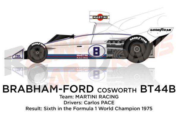 Brabham - Ford Cosworth BT44B n.8 sixth in the Formula 1 1975