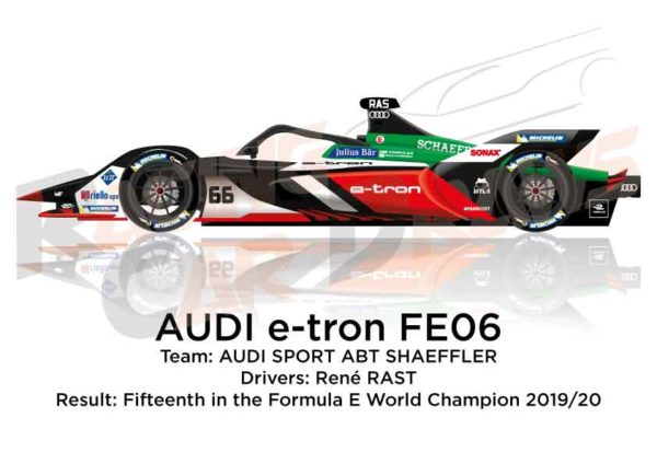Audi e-tron FE06 n.66 fifteenth in the Formula E Champion 2020