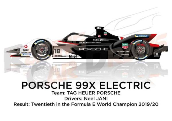 Porsche 99X Electric n.18 twentieth in the Formula E Champion 2020