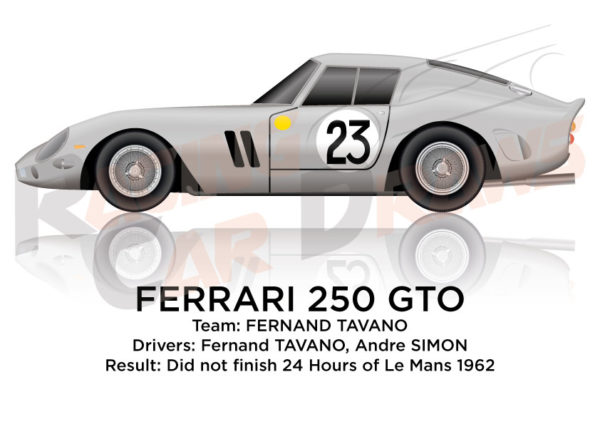 Ferrari 250 GTO n.23 did not finish in the 24 Hours of Le Mans 1962