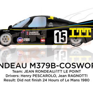 Rondeau M379B Cosworth n.15 did not finish 24 Hours of Le Mans 1980