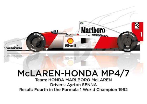 McLaren - Honda MP4/7 n.1 fourth in the Formula 1 World Champion 1992