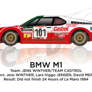 BMW M1 n.101 did not finish in the 24 hours of Le Mans 1984