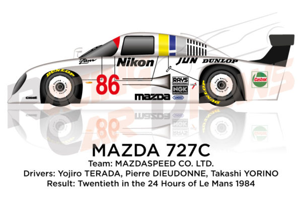Mazda 727c n.86 twentieth in th 24 Hours of Le Mans 1984