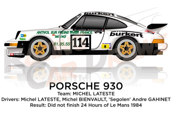 Porsche 930 n.114 did Not finish the 24 hours of Le Mans 1984