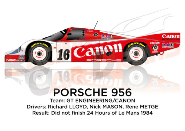 Porsche 956 n.16 did not finish 24 Hours of Le Mans 1984
