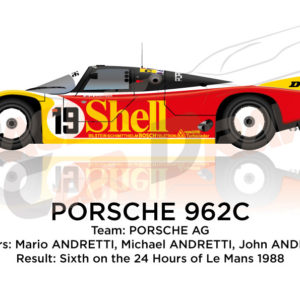 Porsche 962C n.19 sixth in the 24 hours of Le Mans 1988
