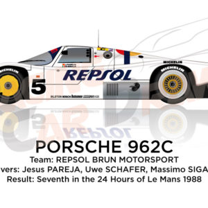 Porsche 962C n.5 seventh in the 24 hours of Le Mans 1988