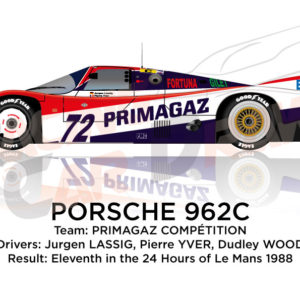 Porsche 962C n.72 eleventh in the 24 hours of Le Mans 1988