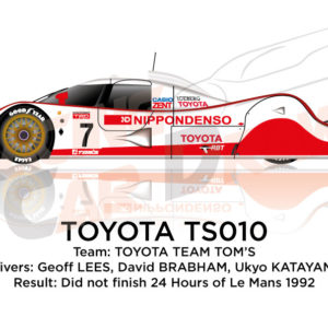 Toyota TS010 n.7 did not finish 24 Hours of Le Mans 1992