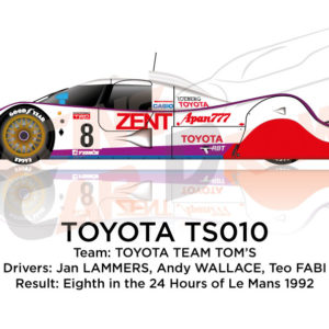 Toyota TS010 n.8 eighth in the 24 Hours of Le Mans 1992