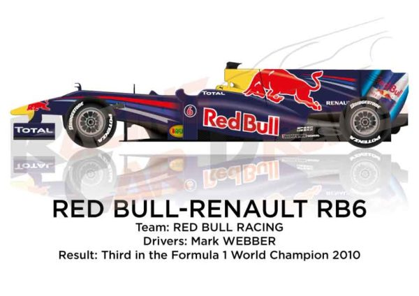 Red Bull Renault RB6 n.6 third in the Formula 1 World Champion 2010