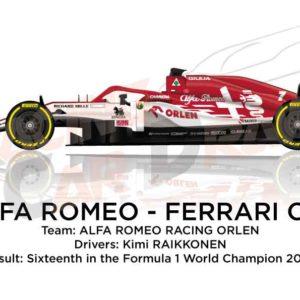 Alfa Romeo - Ferrari C39 n.7 Formula 1 2020 driver Kimi Raikkonen