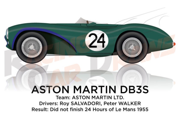 Aston Martin DB3S n.24 did not finish 24 Hours of Le Mans 1955