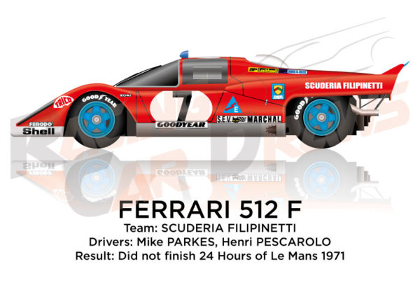 Ferrari 512 F n.7 did Not finish in the 24 hours of Le Mans 1971