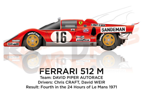 Ferrari 512 M n.16 fourth in the 24 hours of Le Mans 1971