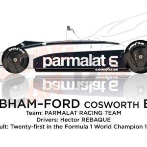 Brabham - Ford Cosworth BT49 n.6 twenty-first in the Formula 1 1980
