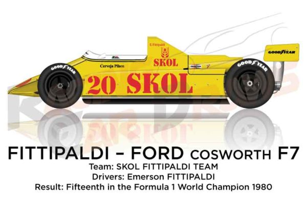 Fittipaldi - Ford Cosworth F7 n.20 fifteenth in the Formula 1 1980