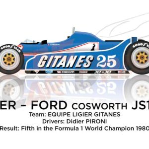 Ligier - Ford Cosworth JS11/15 n.25 fifth in the Formula 1 Driver 1980