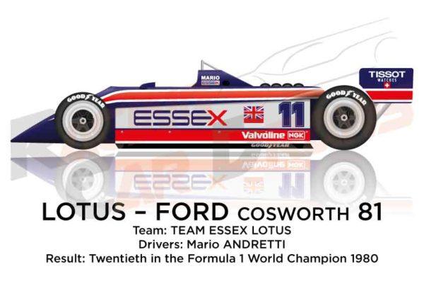 Lotus - Ford Cosworth 81 n.11 twentieth in the Formula 1 1980
