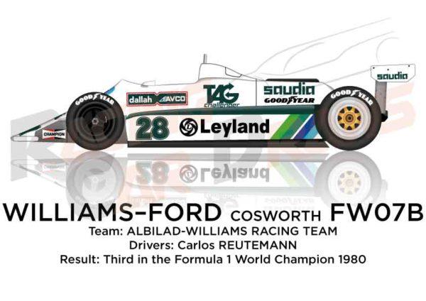 Williams - Ford Cosworth FW07B n.28 Formula World Champion 1980
