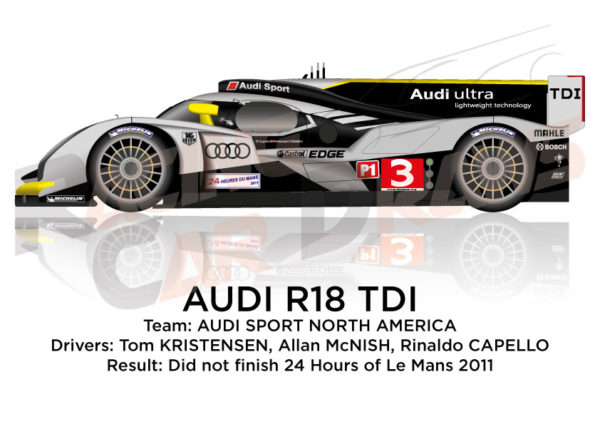 Audi R18 TDI n.3 did not finish 24 Hours of Le Mans 2011