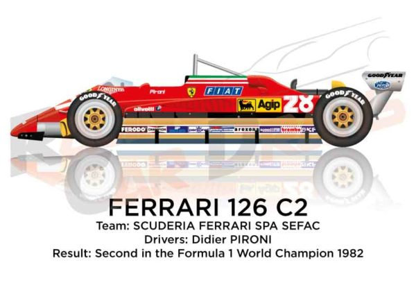 Ferrari 126 C2 n.28 Formula 1 World Champion 1982 with Pironi